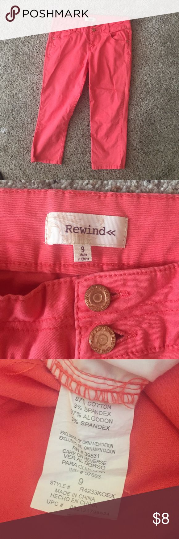 Rewind Coral Capri Pants Rewind size 9 Capri pants. Super cute and comfortable. Tummy slimming and butt lifting, beautiful coral color. Excellent used condition, only worn three times. Rewind Pants Capris