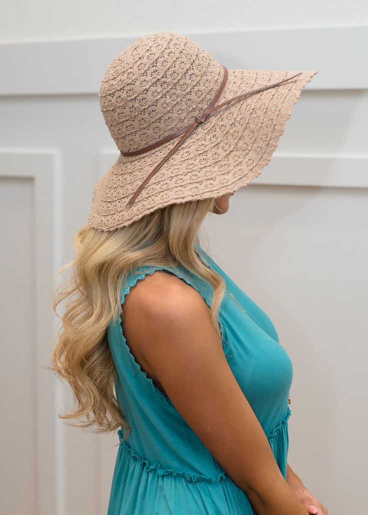 Khaki Lace Floppy Hat - Modern Vintage Boutique
