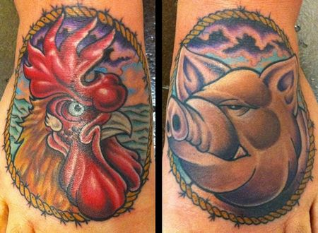 Tattoos - Rooster and Pig Foot Tattoo