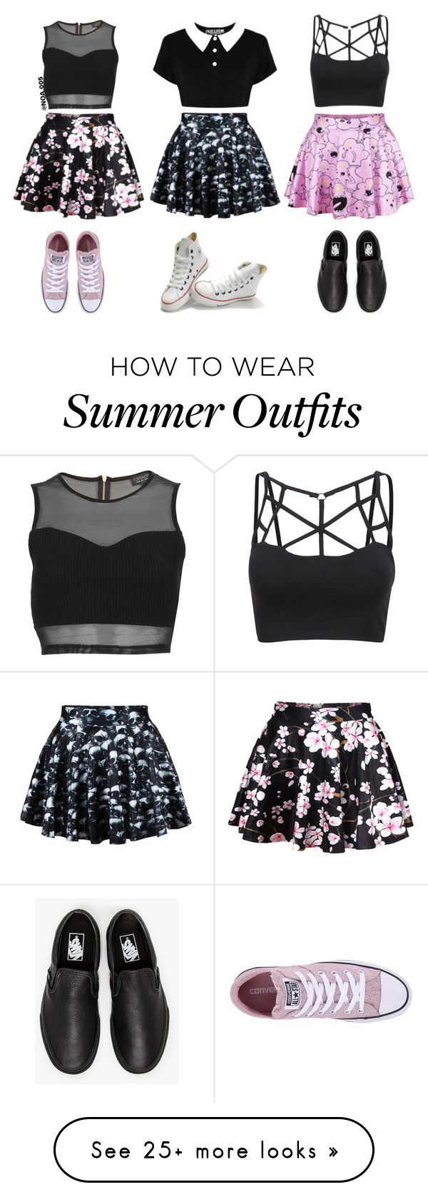 """3 Outfits"" by noa005 on Polyvore featuring Topshop, Converse and Vans"