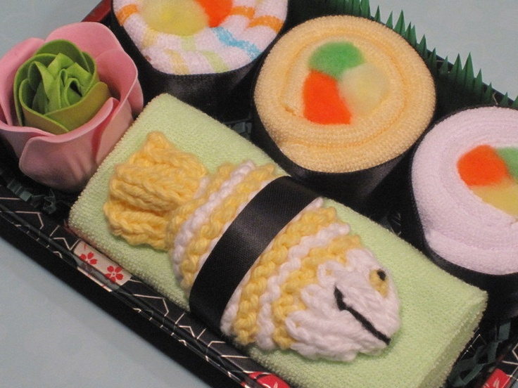 "Baby Sushi - 4 baby washcloths, 1 bath scrubby,""wasabi"" and ""ginger"" fragranced rose soap (for Mom only) - From Etsy"