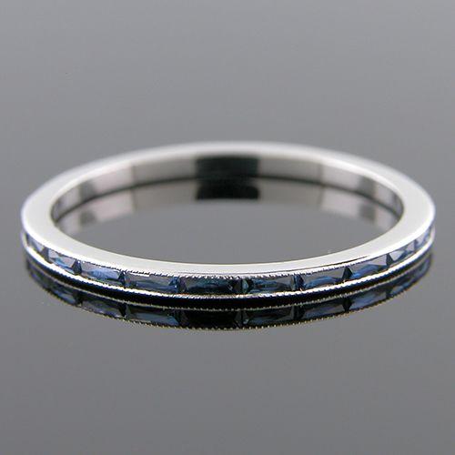 055BG-420P Ultra thin channel set fancy French cut baguette blue sapphire platinum wedding eternity band