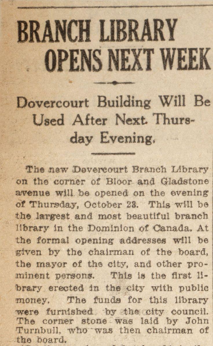 Bloor Gladstone opening - Toronto World October 13 1913 pg 4.