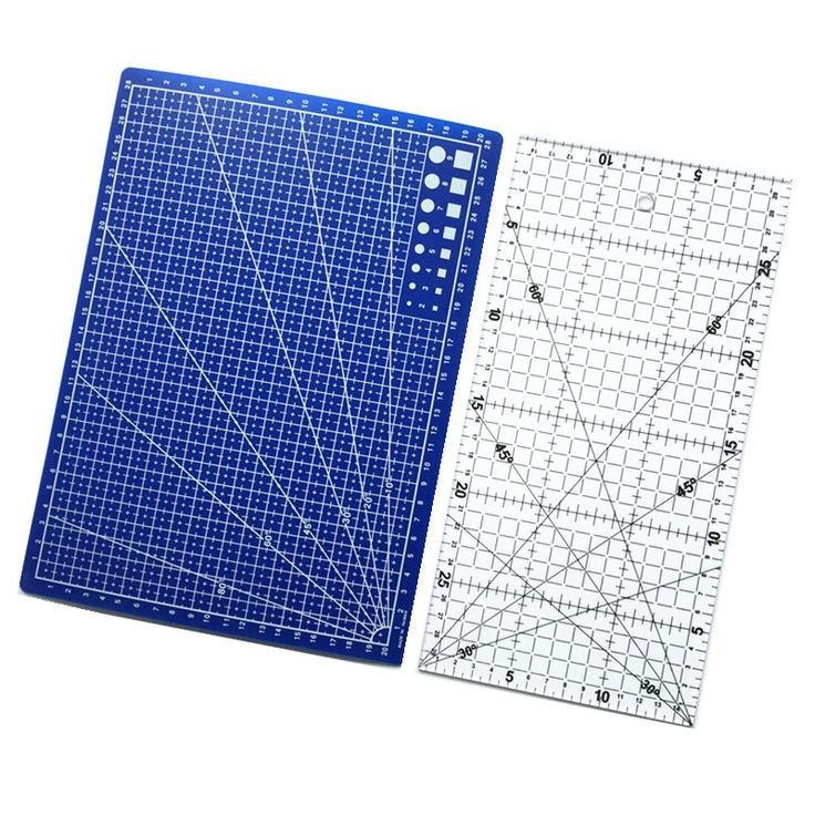 Free Shipping 2pcs Acrylic And Plastic Materials 15 * 30cm Patchwork Ruler And A Blue A4 Cutting Plate