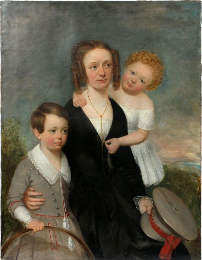 """AMERICAN FAMILY PORTRAIT OIL ON CANVAS, 19TH.C. H 44"""", W 34"""":Charming family portrait of mother with young children: boy with hoop and girl toying with mother's monocle. The mother holds a military hat to signify they are possibly in mourning."""