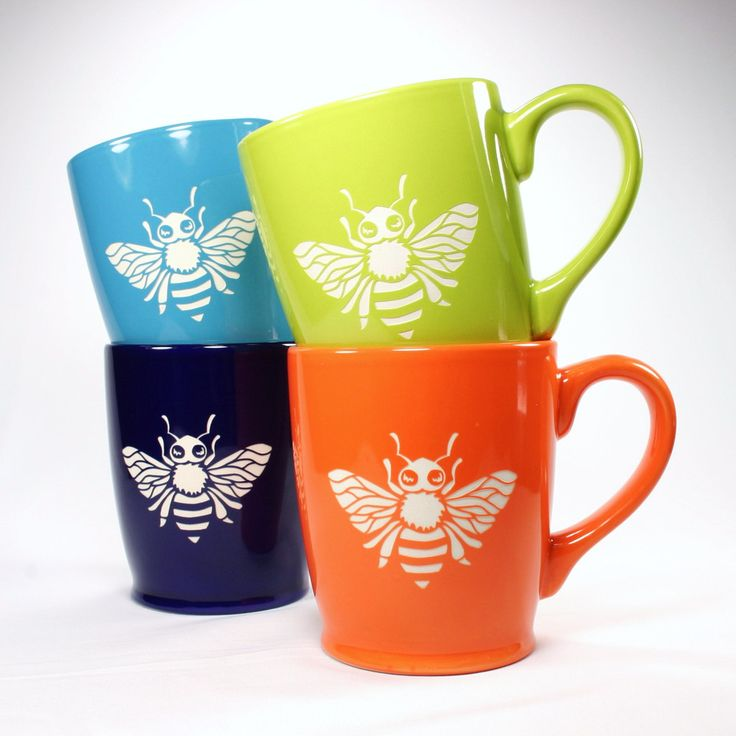sandblasted honey bee mugs set
