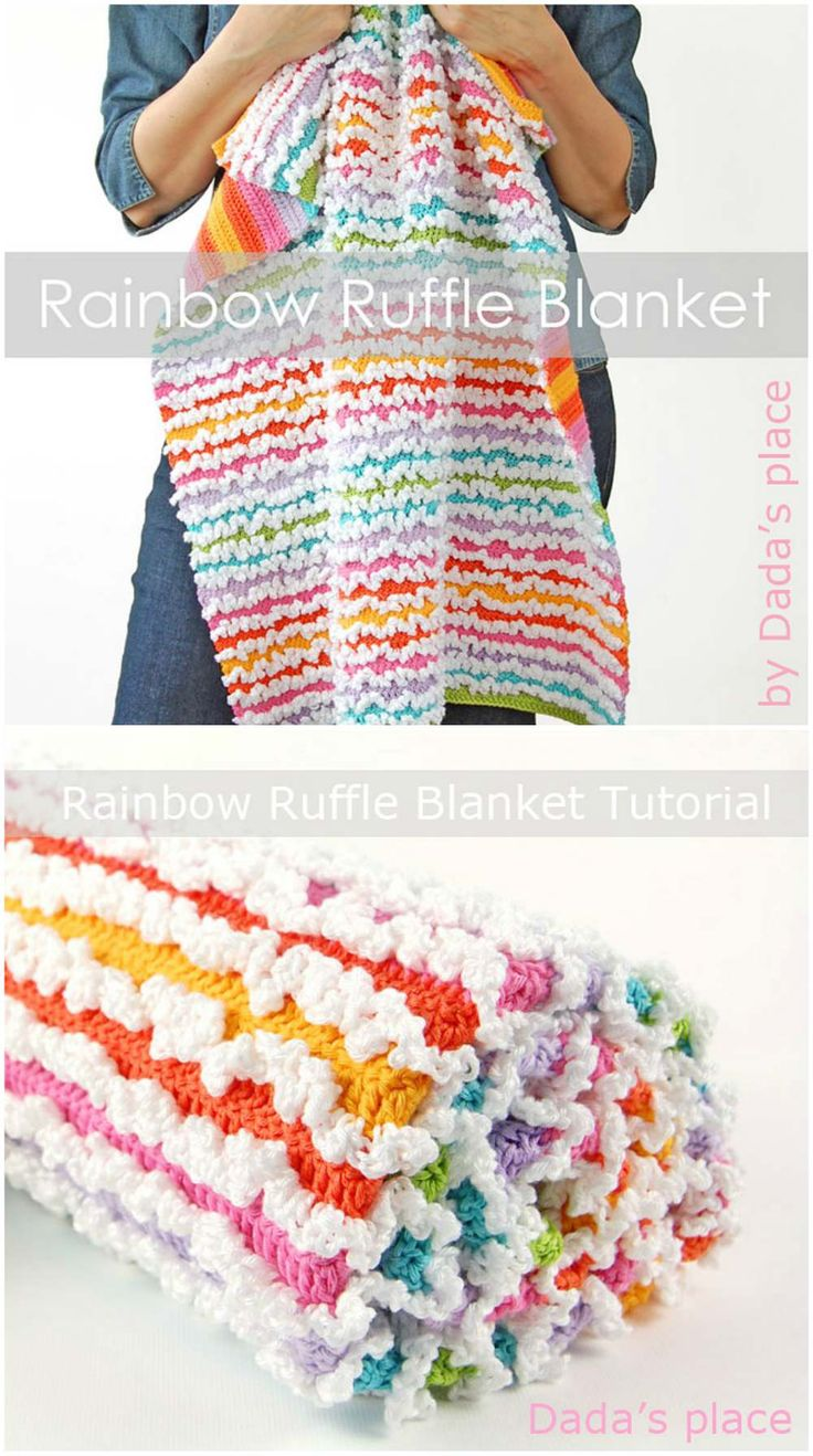 Ruffle Blanket is a rich proposal for all who need effective but not difficult and not expensive to do. All what is i need is a good yarn (Golf - St. George is recommended) and