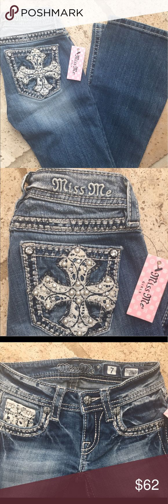 NWT Little Girls Miss Me Jeans - Bootcut - Sz 7 New with tags - Little Girls Miss Me Jeans - Bootcut - Sz 7 Miss Me Bottoms Jeans