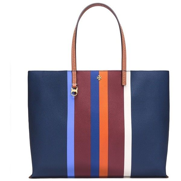 Tory Burch Kerrington Stripe Square Tote ($295) ❤ liked on Polyvore featuring bags, handbags, tote bags, multi center stripe, tory burch pouch, square tote, pocket tote bag, striped tote and stripe tote