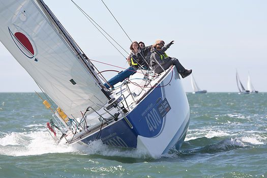 The Beneteau F40 yacht 'Sunsail 4010' competing in the J.P. Morgan Asset Management Round the Island Race.