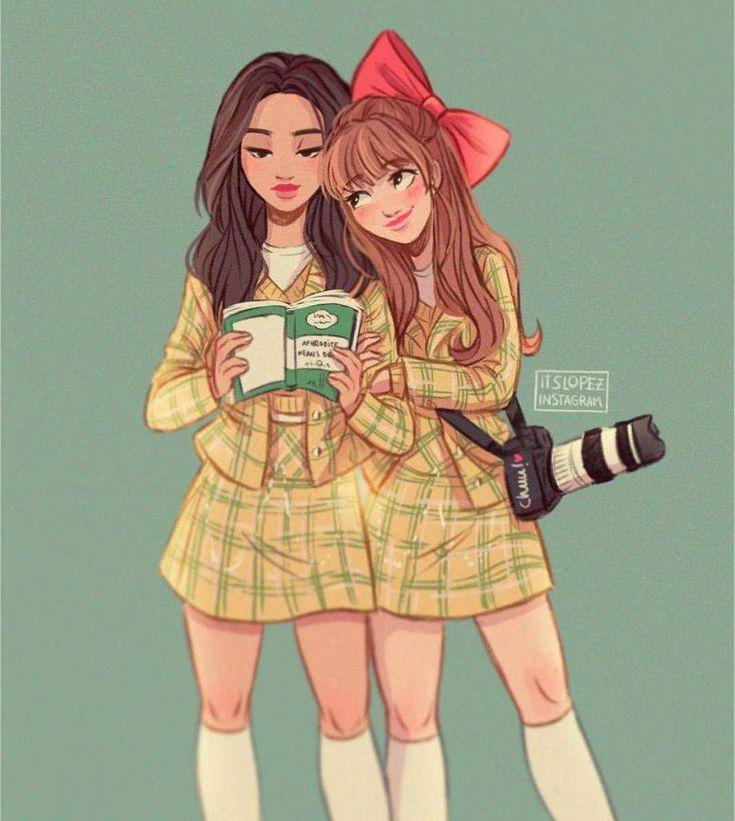 Две девочки мультяшные