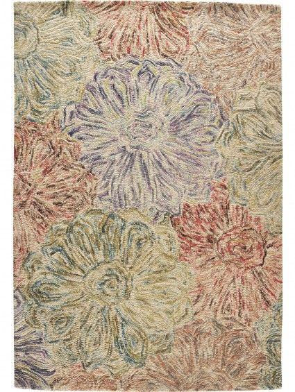 Ein zartes Blumen Muster mit einem Hauch von Farbe.  Teppich WOOL-Design Grün