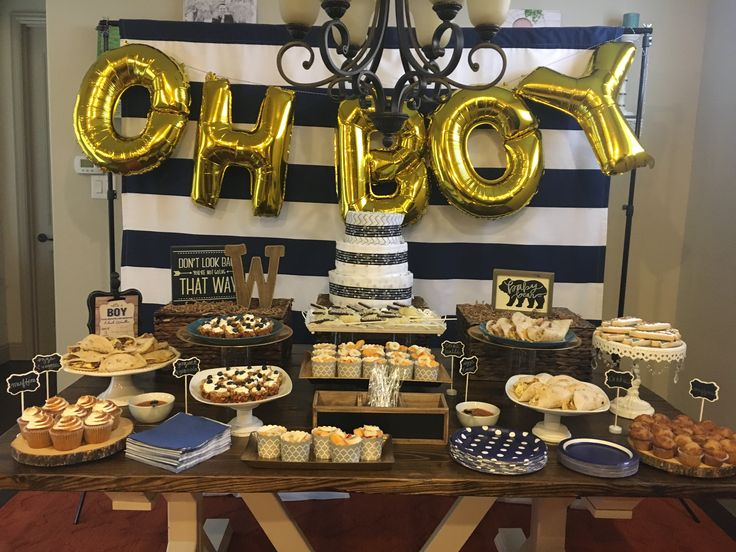 Baby boy shower. Navy, brown and gold!