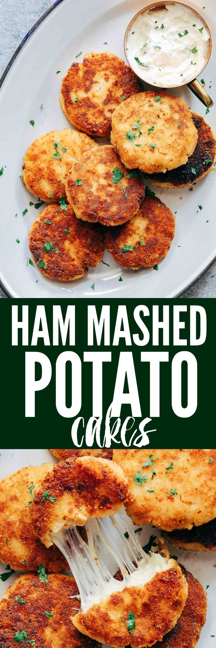 These ham mashed potato cakes are the most amazing way to use leftover mashed potatoes. They are incredibly cheesy and make for a delicious snack or appetizer!