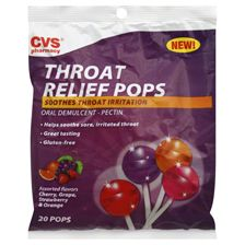 CVS Sore Throat Relief Pops Assorted Flavors. These are great for kids 3 and up when they are down and out with sore throat during cold and flu season.