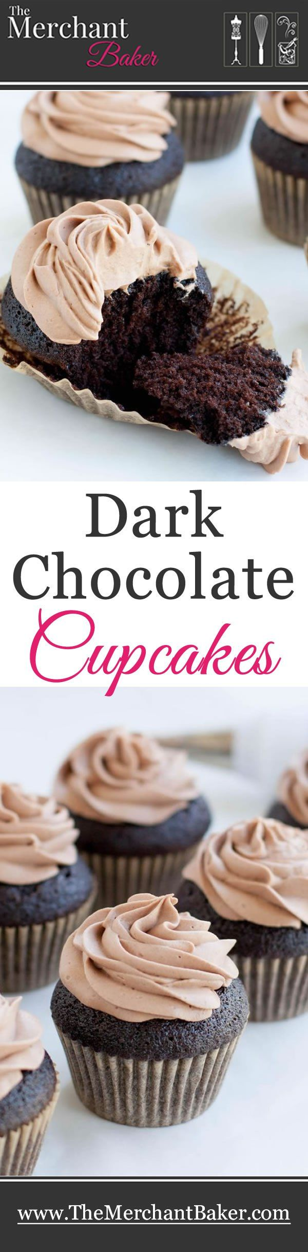 Dark Chocolate Cupcakes. An easy one bowl cake. Incredibly moist, full of chocolate flavor then topped with Chocolate Whipped Cream Cream Cheese Frosting.