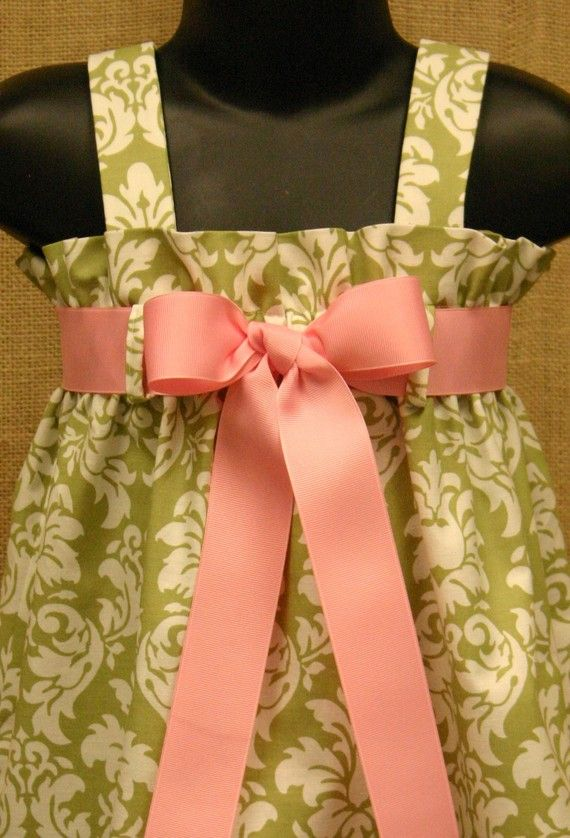 Easter Dress - Avocado Dandy Damask fabric by Michael Miller.  Precious dress- I need to make something like this.