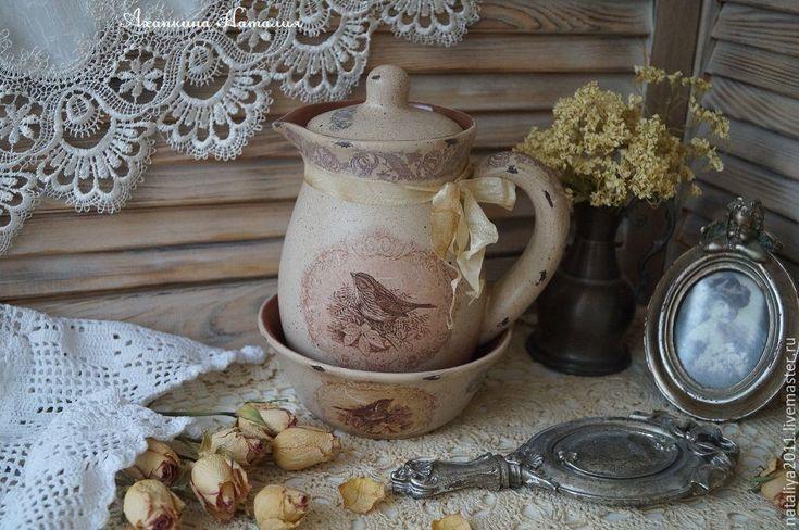 """Купить """"Птичка певчая""""-Набор керамической посуды. - бежевый, Керамика, керамическая посуда, набор для кухни"""