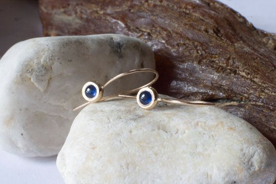 14k gold blue sapphire long earrings solid 14k gold by ARPELC
