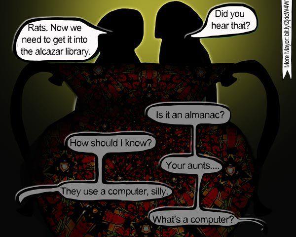 Computer (Mayor graphic novel, s1, p75) #alandalus, #graphicnovel, #historicaldrama, #Spain, #Toledo, #astrology, #fantasy, #occult, #MayorGN, #chicklit, #Mayors1p75
