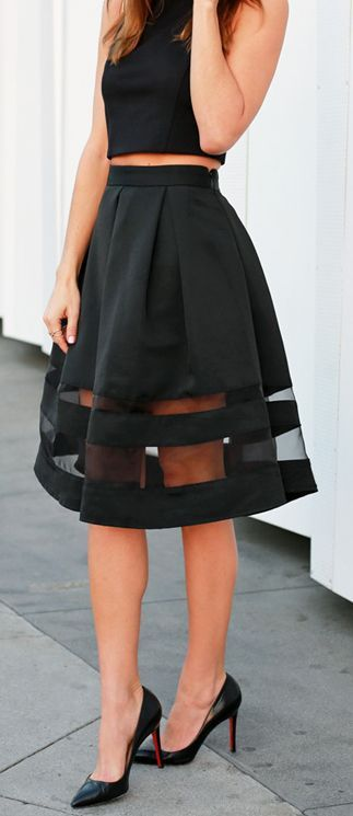 Women's fashion | High waist sheer midi skirt and black crop top