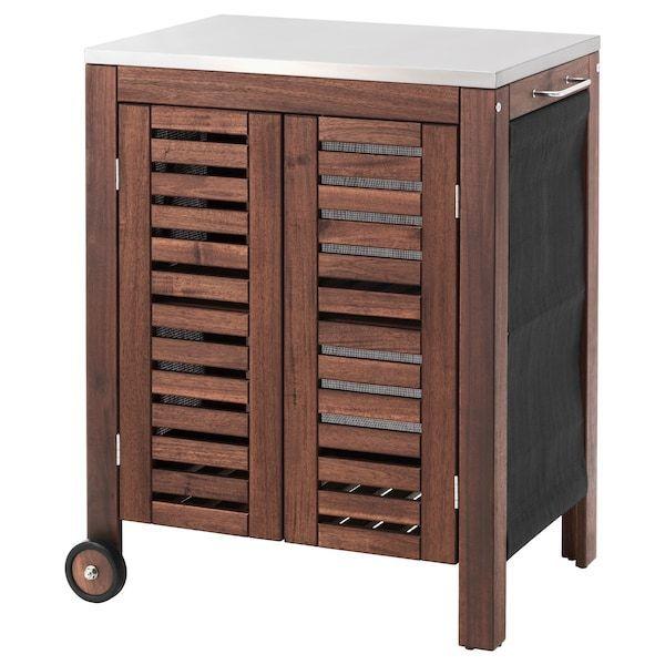 Applaro Brown Cabinet Color Ikea Ikea Balkonmobel Klasen Outdoor Stained Stainless Steel Storage Applaro Klasen S In 2020 Ikea Applaro Ikea Speicherideen