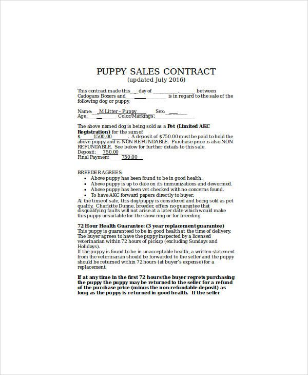 Sample Puppy Sales Contract Contract Template Dog Breeding