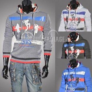 Vestes de la mode des hommes de grande taille hommes Printing chandail à capuchon [#ROBE208022] - robedumariage.com