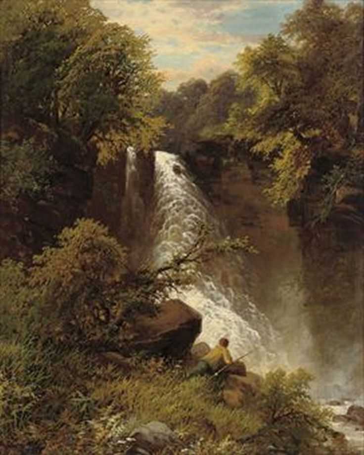 James Burrell Smith - An angler before a waterfall
