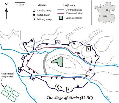 Battle of Alesia -ANNEE 52 av JC, révolte de Vercingétorix, 4) Fin de la révolte, VERCINGETORIX SE REND A ALESIA, 7: César et ses 10 à 12 légions, soit 60 à 72.000 hommes, décide de mettre le siège autour de l'oppidum d'ALESIA, qui contrôle la route vers la province: le siège d'Alesia débute.