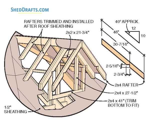 10 12 Hip Roof Storage Shed Dormer Plans Blueprints To Assemble Potting Shed In 2020 Roof Storage Shed Dormer Dormers