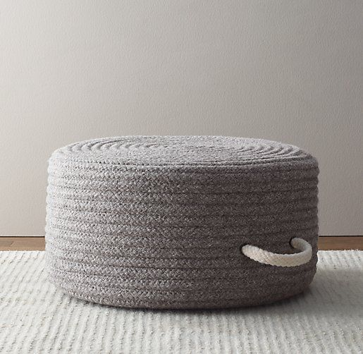 braided wool pouf 21 diam 12 h on sale 109 client landing area play space pinterest. Black Bedroom Furniture Sets. Home Design Ideas