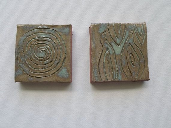 Small Glazed Clay Tiles Set of Two Primitive by KeksArtCollection