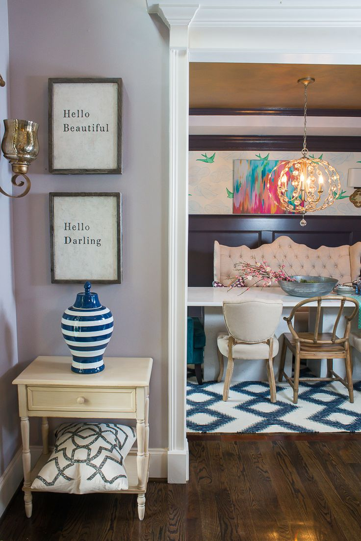 Accent Tables And Colorful Vases Add The Perfect Touch Of Color Whimsy To This Dining