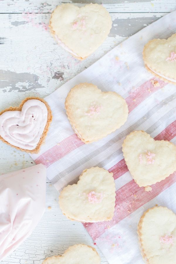 Raspberry Shortbread Hearts Recipe — Dishmaps