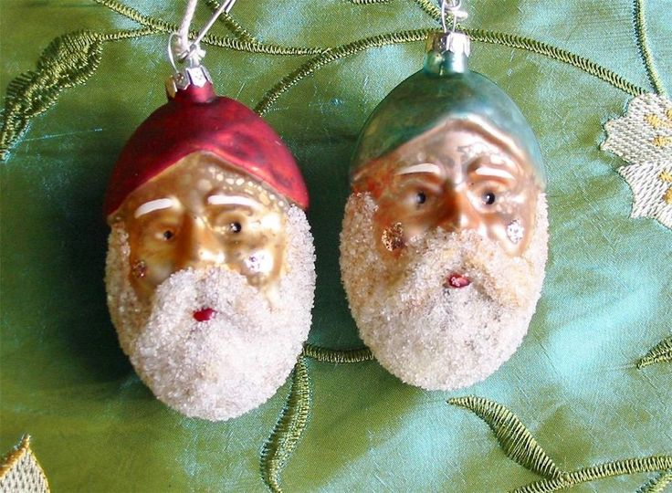 Pair of Mercury Glass Santa Belsnickle Head Ornaments New Blue and Red
