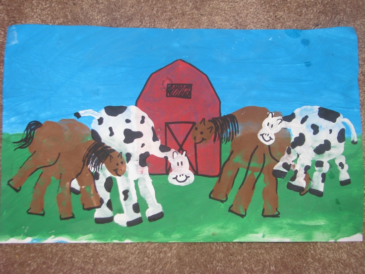 Nathan & Faith each made handprints into a cow & horse, and helped fingerpaint grass, sky & a barn (with my help). We framed it and gave it to Granny & Pa for Christmas to hang in their barn.