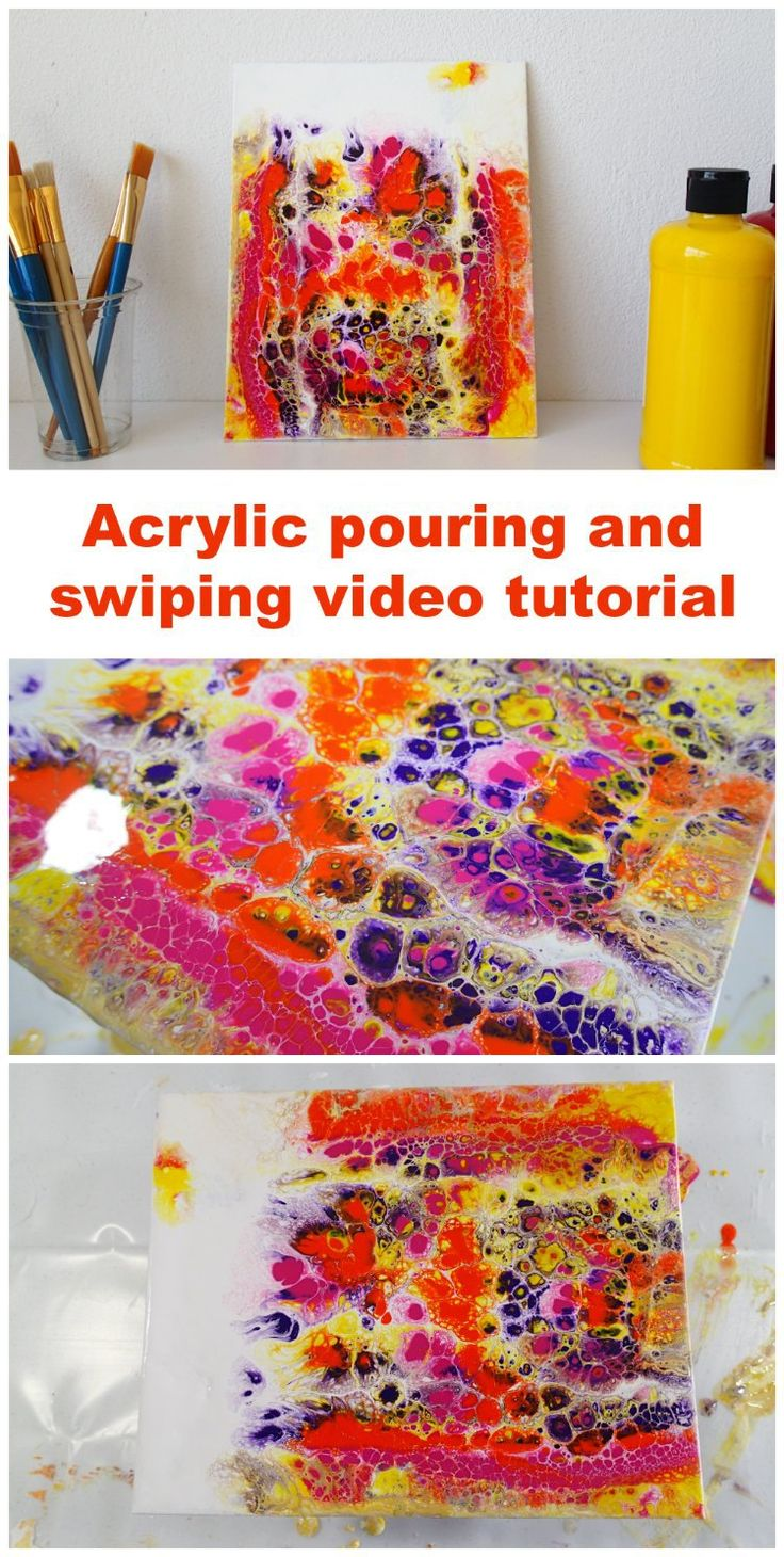 Video tutorial, how to pour and swipe this colorful painting using acrylic paints