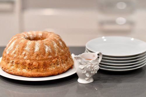 Cinnamon Doughnut Cake with Whiskey Fudge Sauce