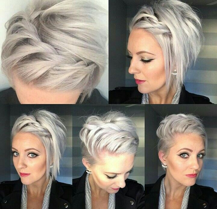 I like the color and how the hair is plaited on top.