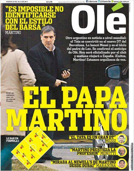 La portada del diario deportivo argentino Olé cuando se supo que 'Tata' Martino era el elegido para convertirse en el cuarto entrenador barçargentino de la historia.