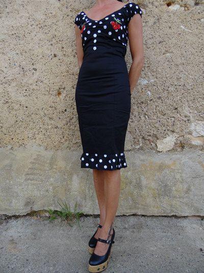 Rockabilly vestire nero pois ciliegio di FifisAlternative su Etsy