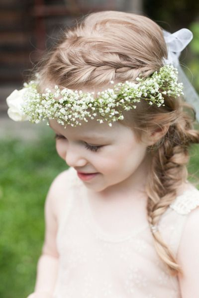 Fishtail braid and baby's breath floral crown: http://www.stylemepretty.com/canada-weddings/british-columbia/vancouver/2014/10/02/unique-ideas-for-kids-at-weddings/ | Photography: Kelly Brown - http://www.kellybrownphotographer.com/