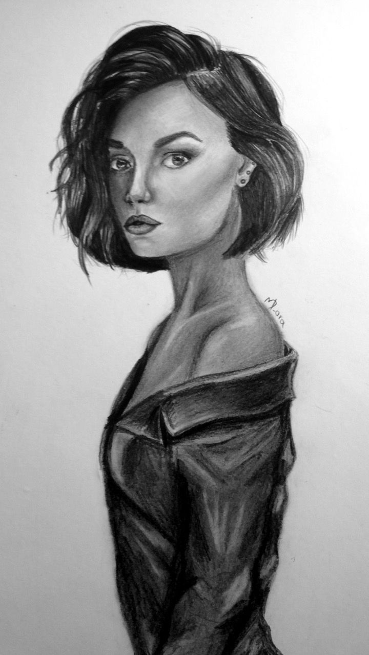 Lucy Hale pencil drawing by Dora Meidani