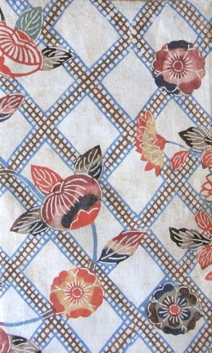 COTTON BINGATA ・ 木綿紅型 - TACHIBANA, CHERRY BLOSSOMS & CHRYSANTHEMUMS HANDSPUN COTTON, PIGMENTS HAND-APPLIED THROUGH STENCILS OKINAWA, LATE 19C. Nara blog