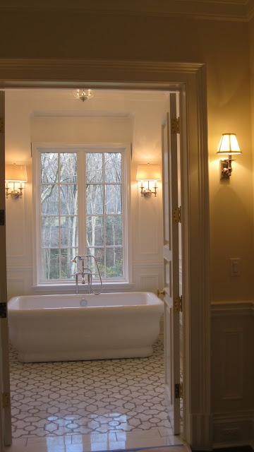 Tile And Like Idea Of Sconces Flanking Window And Above