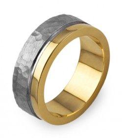 WX26 Aliança plana em ouro polido com friso polido