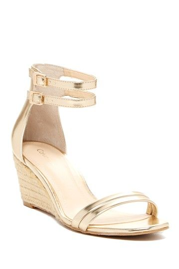 Callista Tumbled Metal Wedge Sandal by Calvin Klein on @HauteLook
