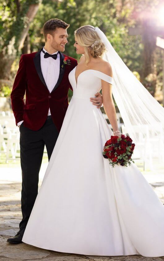 Classic Satin Ballgown with Pockets and Off-the-Shoulder Sleeves –