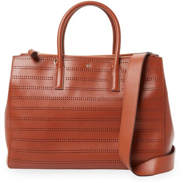 Anya Hindmarch Women's Ebury Large Perforated Leather Tote - Orange ($699) ❤ liked on Polyvore featuring bags, handbags, tote bags, orange, orange leather tote bag, leather tote, leather tote handbags, brown leather tote and brown leather handbags